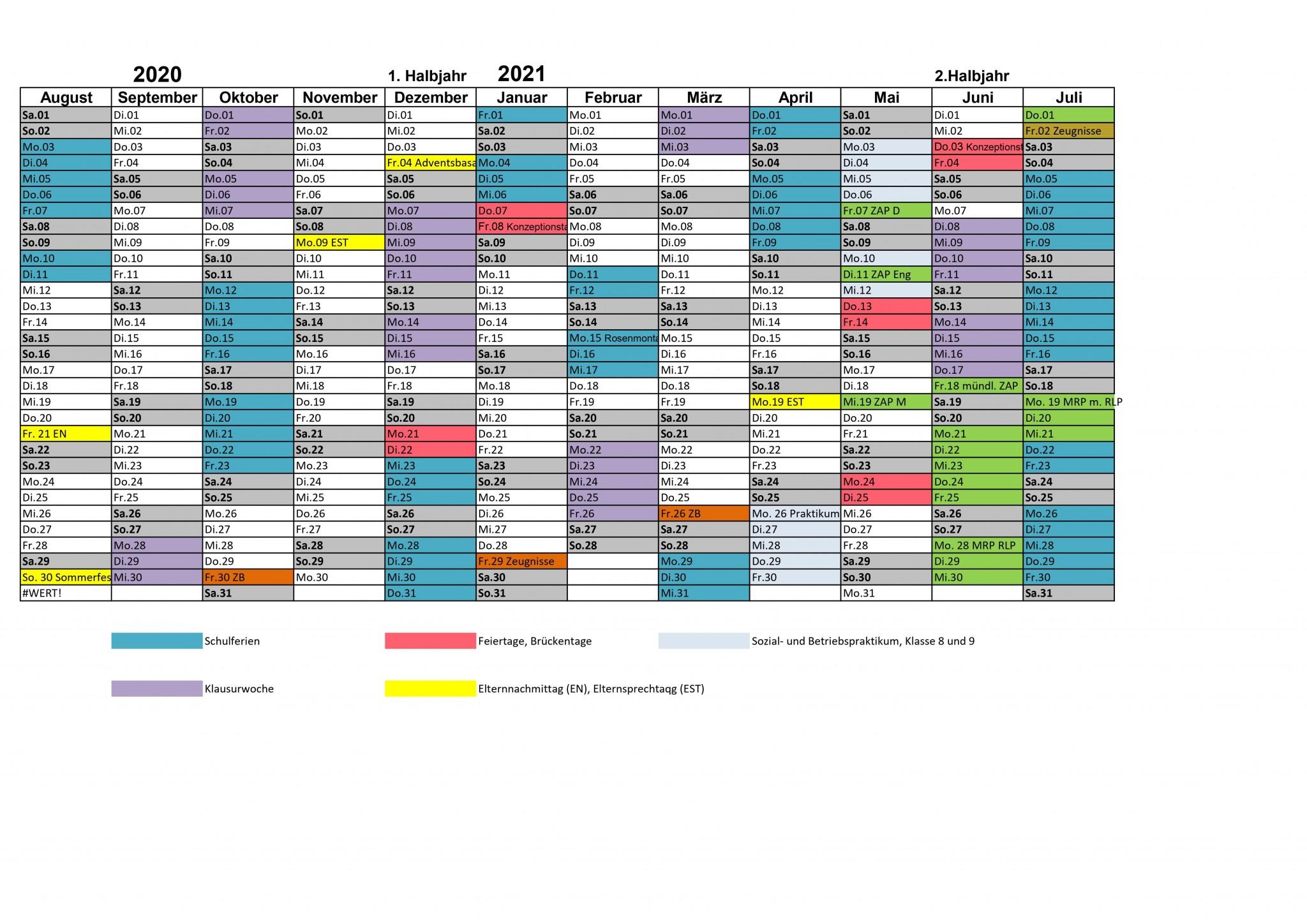 Schuljahreskalender NRW 2020_21