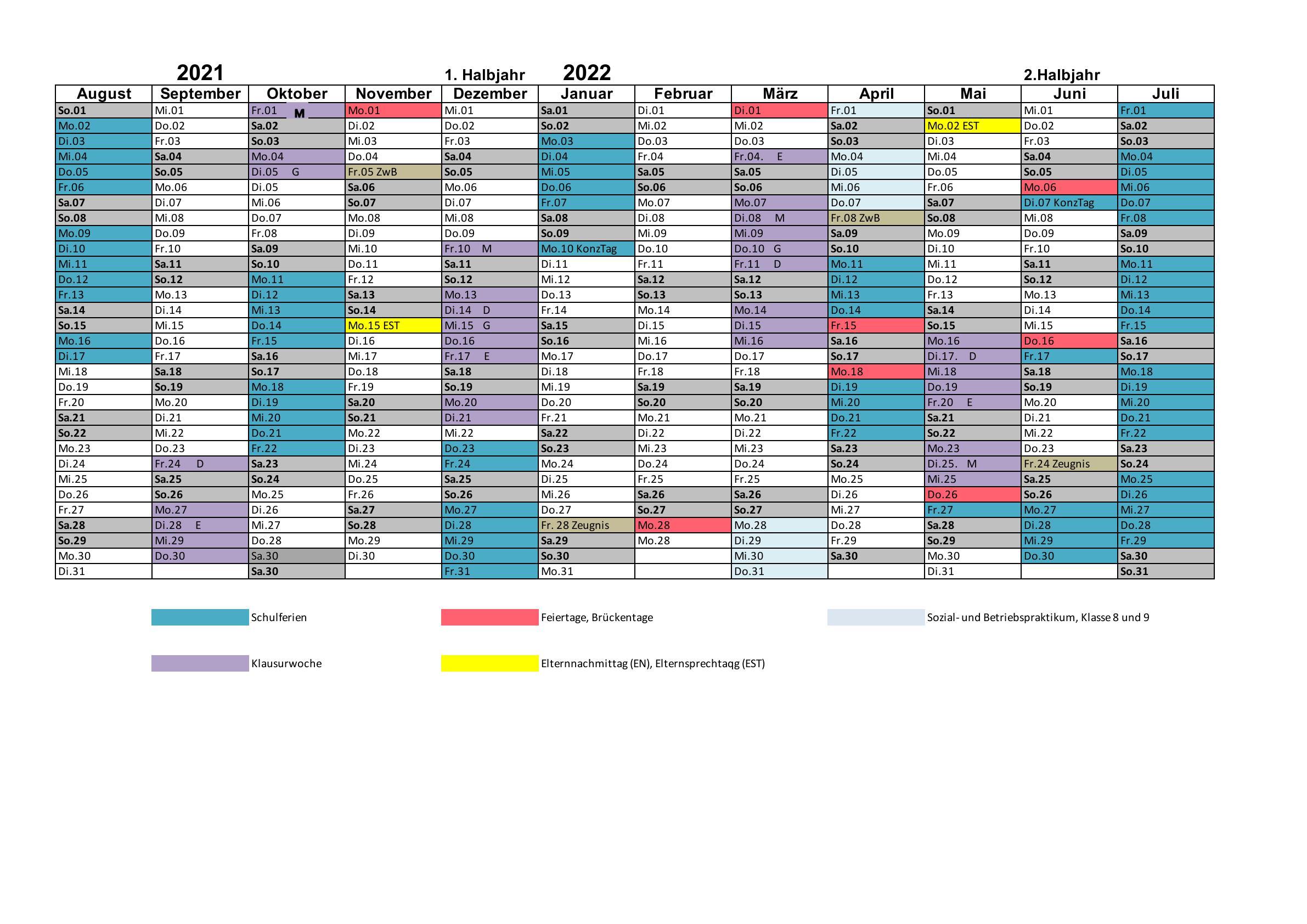 Schuljahreskalender 2021_22 Willich US MS